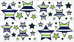 Navy Blue and Lime Green Stripe Peel and Stick Wall Decal Stickers Art Nursery Decor by Sweet Jojo Designs - Set of 4 Sheets