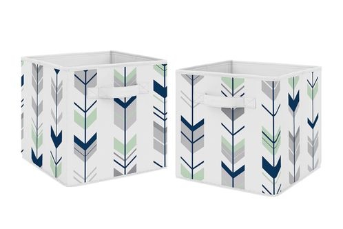 Navy Blue and Mint Woodland Mod Arrow Foldable Fabric Storage Cube Bins Boxes Organizer Toys Kids Baby Childrens for Collection by Sweet Jojo Designs - Set of 2 - Click to enlarge