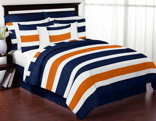 Navy Blue And Orange Stripe 3pc Bed In