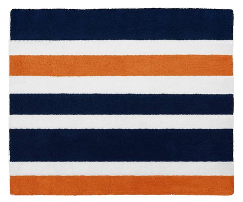 Navy Blue and Orange Stripe Accent Floor Rug by Sweet Jojo Designs - Click to enlarge