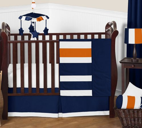 Navy Blue and Orange Stripe Baby Bedding - 11pc Crib Set by Sweet Jojo Designs - Click to enlarge