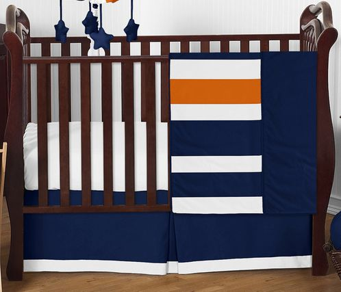 Navy Blue and Orange Stripe Baby Bedding - 4pc Crib Set by Sweet Jojo Designs - Click to enlarge