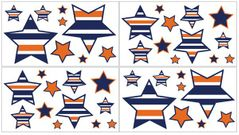Navy Blue and Orange Stripe Peel and Stick Wall Decal Stickers Art Nursery Decor by Sweet Jojo Designs - Set of 4 Sheets