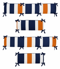 Navy Blue and Orange Stripe Collection Crib Bumper by Sweet Jojo Designs