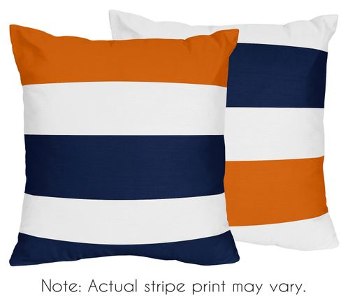 Navy Blue and Orange Stripe Decorative Accent Throw Pillows - Set of 2 - Click to enlarge