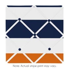Navy Blue and Orange Stripe Fabric Memory/Memo Photo Bulletin Board