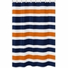 Navy Blue and Orange Stripe Kids Bathroom Fabric Bath Shower Curtain