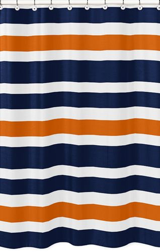 Navy Blue and Orange Stripe Kids Bathroom Fabric Bath Shower Curtain - Click to enlarge