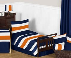 Navy Blue and Orange Stripe Toddler Bedding - 5pc Set by Sweet Jojo Designs