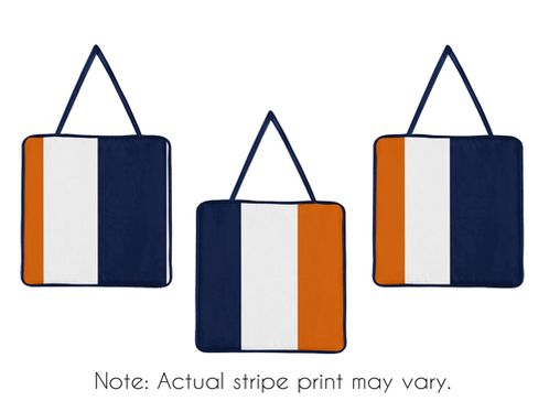 Navy Blue and Orange Stripe Wall Hanging Accessories by Sweet Jojo Designs - Click to enlarge