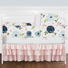 Navy Blue and Pink Shabby Chic Watercolor Floral Baby Girl Nursery Crib Bedding Set with Bumper by Sweet Jojo Designs - 9 pieces - Blush, Green and White Rose Flower Polka Dot