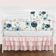 Navy Blue and Pink Watercolor Floral Baby Girl Nursery Crib Bedding Set with Bumper by Sweet Jojo Designs - 9 pieces - Blush, Green and White Shabby Chic Rose Flower Polka Dot