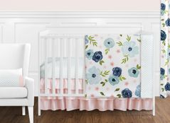 Navy Blue and Pink Watercolor Floral Baby Girl Nursery Crib Bedding Set without Bumper by Sweet Jojo Designs - 11 pieces - Blush, Green and White Shabby Chic Rose Flower Polka Dot