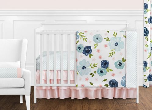 Navy Blue and Pink Watercolor Floral Baby Girl Nursery Crib Bedding Set without Bumper by Sweet Jojo Designs - 11 pieces - Blush, Green and White Shabby Chic Rose Flower Polka Dot - Click to enlarge