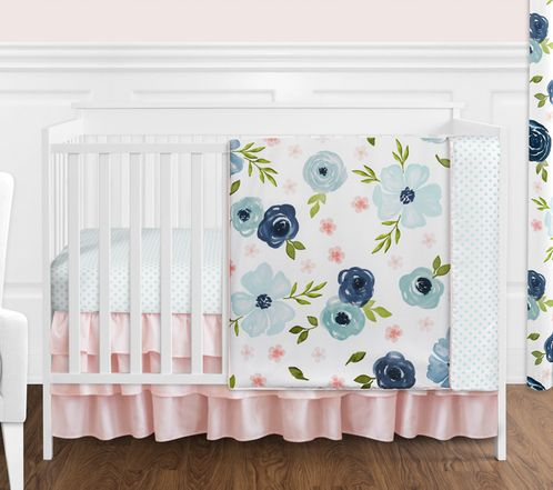 Navy Blue and Pink Watercolor Floral Baby Girl Nursery Crib Bedding Set without Bumper by Sweet Jojo Designs - 4 pieces - Blush, Green and White Shabby Chic Rose Flower Polka Dot - Click to enlarge