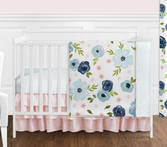 Navy Blue and Pink Watercolor Floral Baby Girl Nursery Crib Bedding Set without Bumper by Sweet Jojo Designs - 4 pieces - Blush, Green and White Shabby Chic Rose Flower Polka Dot