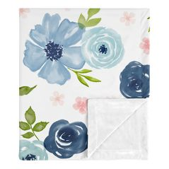 Navy Blue and Pink Watercolor Floral Baby Girl Receiving Security Swaddle Blanket for Newborn or Toddler Nursery Car Seat Stroller Soft Minky by Sweet Jojo Designs - Blush, Green and White Shabby Chic Rose Flower