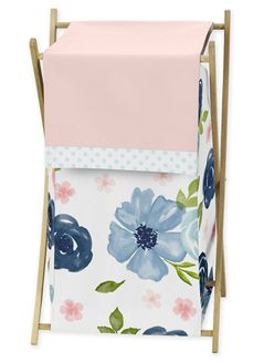 Navy Blue and Pink Watercolor Floral Baby Kid Clothes Laundry Hamper by Sweet Jojo Designs - Watercolor Floral Shabby Chic Rose Flower Collection