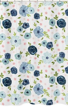 Navy Blue and Pink Watercolor Floral Bathroom Fabric Bath Shower Curtain by Sweet Jojo Designs - Blush, Green and White Shabby Chic Rose Flower