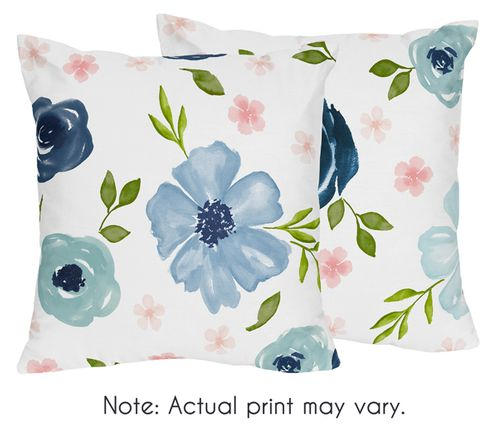 Navy Blue and Pink Watercolor Floral Decorative Accent Throw Pillows by Sweet Jojo Designs - Set of 2 - Blush, Green and White Shabby Chic Rose Flower - Click to enlarge