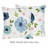 Navy Blue and Pink Watercolor Floral Decorative Accent Throw Pillows by Sweet Jojo Designs - Set of 2 - Blush, Green and White Shabby Chic Rose Flower