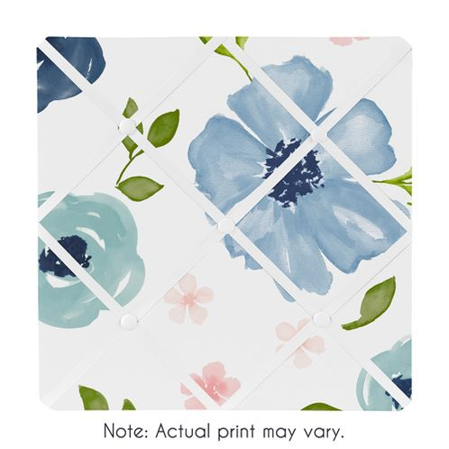 Navy Blue and Pink Watercolor Floral Fabric Memory Memo Photo Bulletin Board by Sweet Jojo Designs - Blush, Green and White Shabby Chic Rose Flower - Click to enlarge