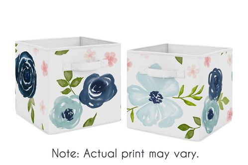 Navy Blue and Pink Watercolor Floral Foldable Fabric Storage Cube Bins Boxes Organizer Toys Kids Baby Childrens by Sweet Jojo Designs - Set of 2 - Blush, Green and White Shabby Chic Rose Flower - Click to enlarge