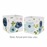 Navy Blue and Pink Watercolor Floral Foldable Fabric Storage Cube Bins Boxes Organizer Toys Kids Baby Childrens by Sweet Jojo Designs - Set of 2 - Blush, Green and White Shabby Chic Rose Flower