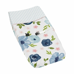 Navy Blue and Pink Watercolor Floral Girl Baby Nursery Changing Pad Cover by Sweet Jojo Designs - Blush, Green and White Shabby Chic Rose Flower Polka Dot