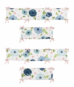 Navy Blue and Pink Watercolor Floral Girl Baby Nursery Crib Bumper Pad by Sweet Jojo Designs - Blush, Green and White Shabby Chic Rose Flower