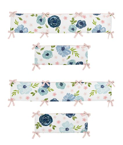 Navy Blue and Pink Watercolor Floral Girl Baby Nursery Crib Bumper Pad by Sweet Jojo Designs - Blush, Green and White Shabby Chic Rose Flower - Click to enlarge