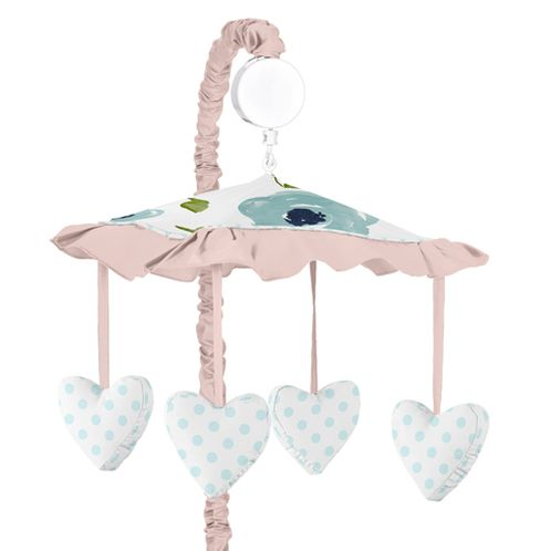 Navy Blue and Pink Watercolor Floral Girl Baby Nursery Musical Crib Mobile by Sweet Jojo Designs - Blush, Green and White Shabby Chic Rose Flower Polka Dot - Click to enlarge
