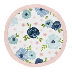 Navy Blue and Pink Watercolor Floral Girl Baby Playmat Tummy Time Infant Play Mat by Sweet Jojo Designs - Blush, Green and White Shabby Chic Rose Flower
