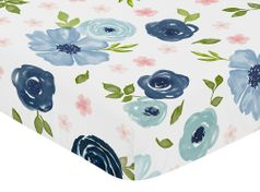 Navy Blue and Pink Watercolor Floral Girl Fitted Crib Sheet Baby or Toddler Bed Nursery by Sweet Jojo Designs - Blush, Green and White Shabby Chic Rose Flower