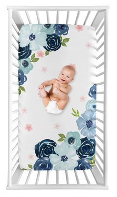 Navy Blue and Pink Watercolor Floral Girl Fitted Crib Sheet Baby or Toddler Bed Nursery Photo Op by Sweet Jojo Designs - Blush, Green and White Shabby Chic Rose Flower