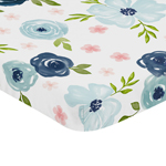 Navy Blue and Pink Watercolor Floral Girl Fitted Mini Crib Sheet Baby Nursery by Sweet Jojo Designs For Portable Crib or Pack and Play - Blush, Green and White Shabby Chic Rose Flower