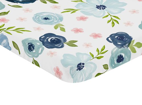 Navy Blue and Pink Watercolor Floral Girl Fitted Mini Crib Sheet Baby Nursery by Sweet Jojo Designs For Portable Crib or Pack and Play - Blush, Green and White Shabby Chic Rose Flower - Click to enlarge