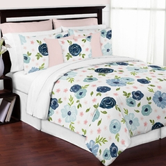 Navy Blue and Pink Watercolor Floral Girl Full / Queen Size Kid Childrens Bedding Comforter Set by Sweet Jojo Designs - 3 pieces - Blush, Green and White Shabby Chic Rose Flower