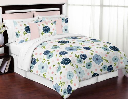 Navy Blue and Pink Watercolor Floral Girl Full / Queen Size Kid Childrens Bedding Comforter Set by Sweet Jojo Designs - 3 pieces - Blush, Green and White Shabby Chic Rose Flower - Click to enlarge