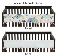 Navy Blue and Pink Watercolor Floral Girl Long Front Crib Rail Guard Baby Teething Cover Protector Wrap by Sweet Jojo Designs - Blush, Green and White Shabby Chic Rose Flower Polka Dot
