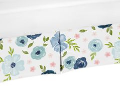 Navy Blue and Pink Watercolor Floral Girl Pleated Baby Nursery Crib Bed Skirt Dust Ruffle by Sweet Jojo Designs - Blush, Green and White Shabby Chic Rose Flower