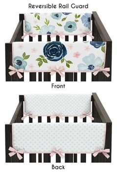 Navy Blue and Pink Watercolor Floral Girl Side Crib Rail Guards Baby Teething Cover Protector Wrap by Sweet Jojo Designs - Set of 2 - Blush, Green and White Shabby Chic Rose Flower Polka Dot