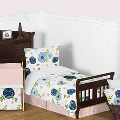 Navy Blue and Pink Watercolor Floral Girl Toddler Kid Childrens Comforter Bedding Set by Sweet Jojo Designs - 5 pieces Comforter, Sham and Sheets - Blush, Green and White Shabby Chic Rose Flower Polka Dot