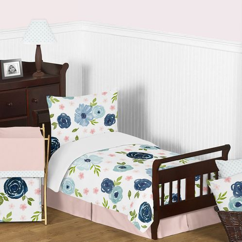 Navy Blue and Pink Watercolor Floral Girl Toddler Kid Childrens Comforter Bedding Set by Sweet Jojo Designs - 5 pieces Comforter, Sham and Sheets - Blush, Green and White Shabby Chic Rose Flower Polka Dot - Click to enlarge
