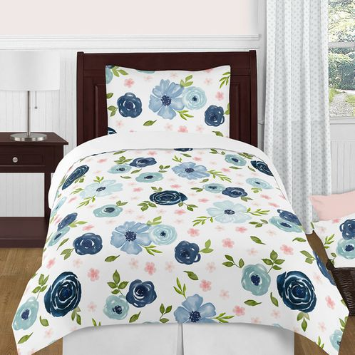 Navy Blue and Pink Watercolor Floral Girl Twin Size Kid Childrens Bedding Comforter Set by Sweet Jojo Designs - 4 pieces - Blush, Green and White Shabby Chic Rose Flower - Click to enlarge