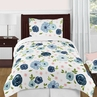 Navy Blue and Pink Watercolor Floral Girl Twin Size Kid Childrens Bedding Comforter Set by Sweet Jojo Designs - 4 pieces - Blush, Green and White Shabby Chic Rose Flower