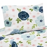 Navy Blue and Pink Watercolor Floral Queen Sheet Set by Sweet Jojo Designs - 4 piece set - Blush, Green and White Shabby Chic Rose Flower