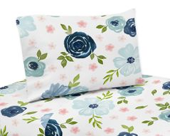 Navy Blue and Pink Watercolor Floral Twin Sheet Set by Sweet Jojo Designs - 3 piece set - Blush, Green and White Shabby Chic Rose Flower