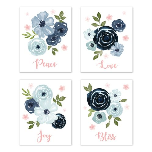 Navy Blue and Pink Watercolor Floral Wall Art Prints Room Decor for Baby, Nursery, and Kids by Sweet Jojo Designs - Set of 4 - Blush, Green and White Shabby Chic Rose Flower Peace, Love, Joy Bliss - Click to enlarge