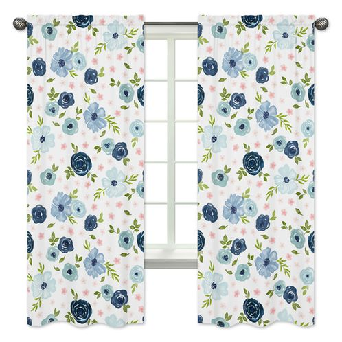 Navy Blue and Pink Watercolor Floral Window Treatment Panels Curtains by Sweet Jojo Designs - Set of 2 - Blush, Green and White Shabby Chic Rose Flower - Click to enlarge